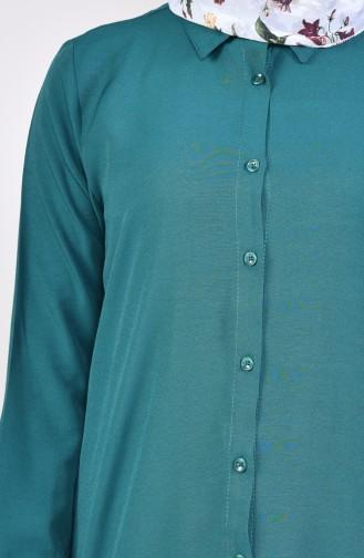تونيك فيسكوز بتصميم فتحات جانبية 2480-05 لون أخضر زمردي 2480-05