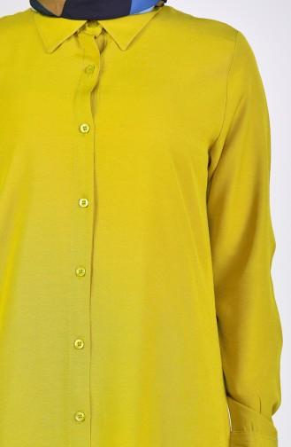 تونيك فيسكوز بتصميم فتحات جانبية 2480-09 لون أصفر داكن 2480-09