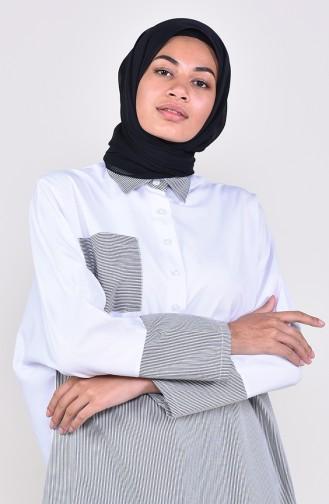 Raglan Sleeve Striped Pocketed Tunic  6365-04 Black White 6365-04