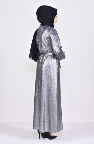 Sequined Abaya 7833-02 Gray 7833-02
