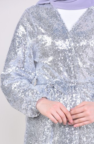 Sequined Abaya 7833-04 Silver 7833-04