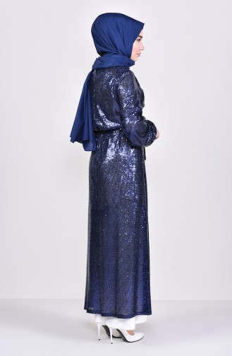 Sequined Abaya 7833-07 Navy Blue 7833-07