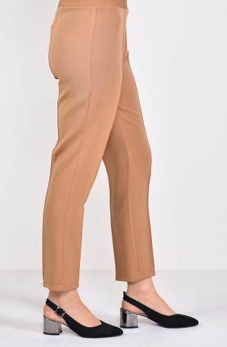 Lastikli Düz Paça Pantolon 1952-03 Camel