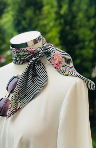 Flower Patterned Cotton Scarf 52333-01 Gray 52333-01