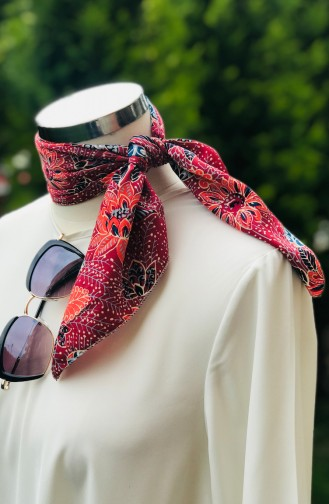 Patterned Cotton Scarf 52400-01 Claret Red  light pink 52400-01