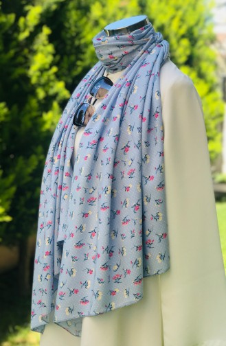 Patterned Cotton Shawl 52408-01 Baby Blue 52408-01