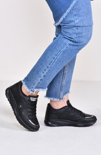 Chaussure Sport Pour Femme 0755-01 Noir Noir Argent 0755-01