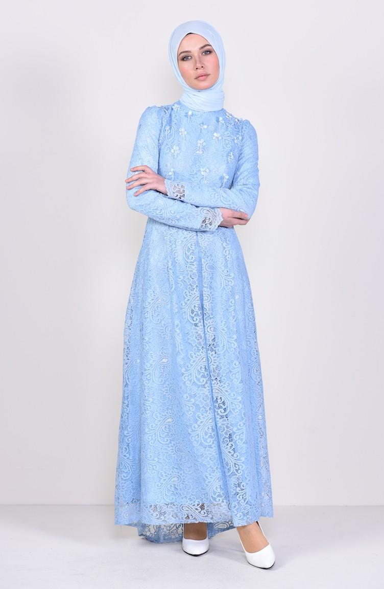 3cf9f601b8 Flower Appliqued Lace Evening Dress 3194-02 Baby Blue 3194-02