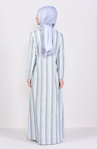 Çizgili A Pile Elbise 6366-03 Yeşil