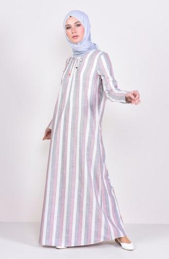 Çizgili A Pile Elbise 6366-04 Bordo 6366-04