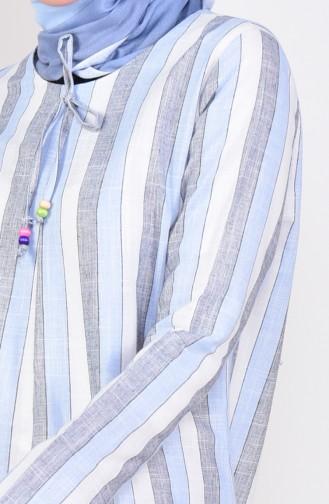Çizgili A Pile Elbise 6366-05 Mavi