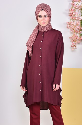 Buttons Detailed Tunic 1929-01 Dark Claret Red 1929-01