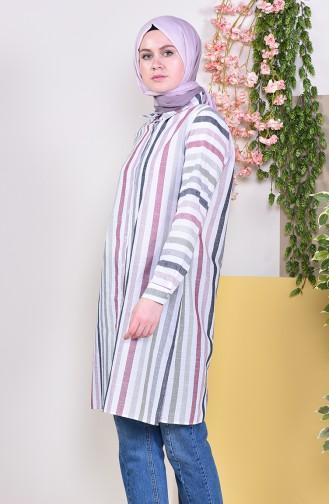 Striped Tunic 6368-02 Claret Red 6368-02