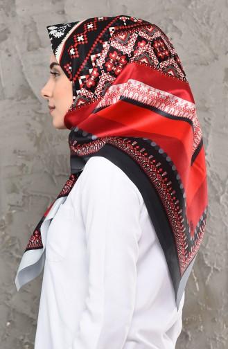 شال التافتا بتصميم مُطبع 95261-03 لون احمر 95261-03