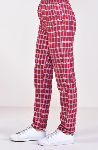Pantalon a Carreaux 1005-01 Bordeaux 1005-01