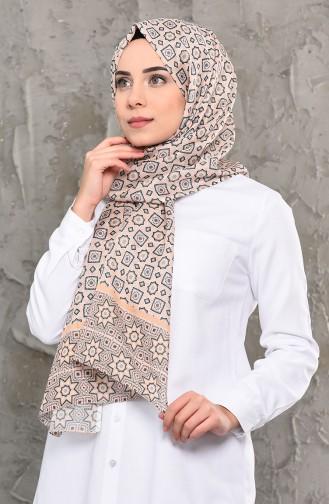 شال قطن بتصميم مُطبع 95264-05لون كريمي 95264-05