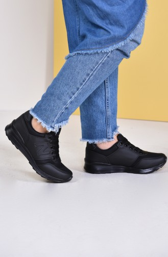 Allforce Women´s Sports Shoes 0777-01 Black Leather 0777-01