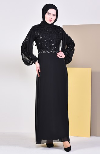 Pelerinli Abiye Elbise 52736-02 Siyah