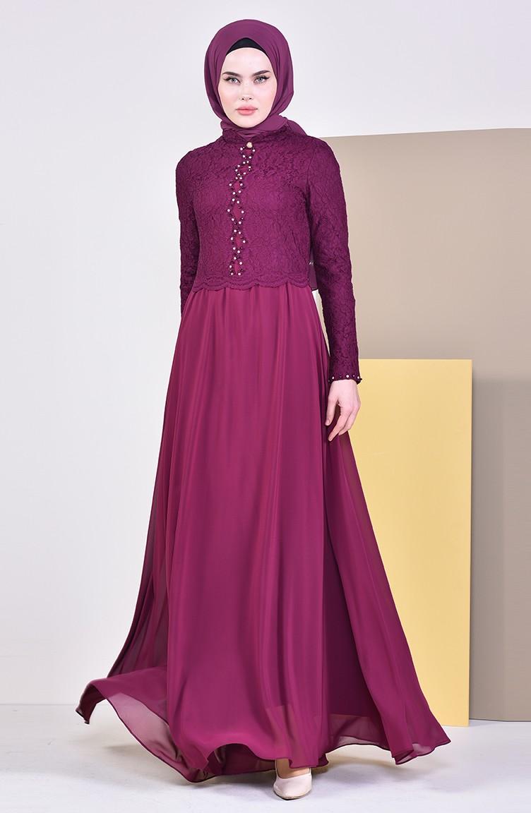 bc93d2fcaa476 فستان سهرة مزين باحجار لامعة 5078-01 لون ارجواني 5078-01