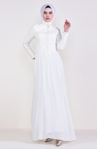 Cream Islamic Clothing Evening Dress 5078-02