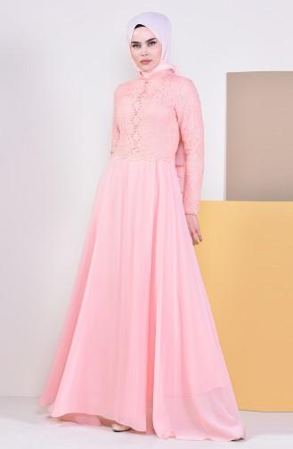 Stone Evening Dress 5078-04 Salmon 5078-04