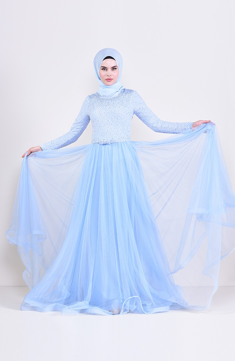 e2316634d8 Lace Detailed Evening Dress 5093-01 Baby Blue 5093-01