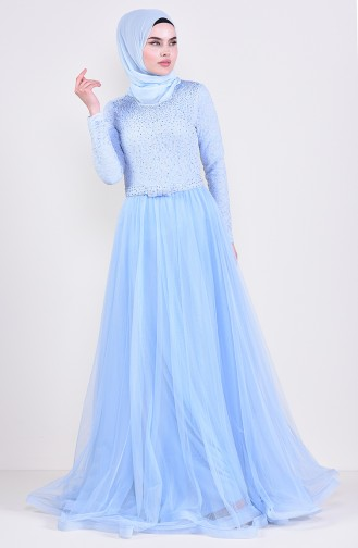 Lace Detailed Evening Dress 5093-01 Baby Blue 5093-01