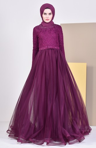 Lace Detailed Evening Dress 5093-04 Plum 5093-04