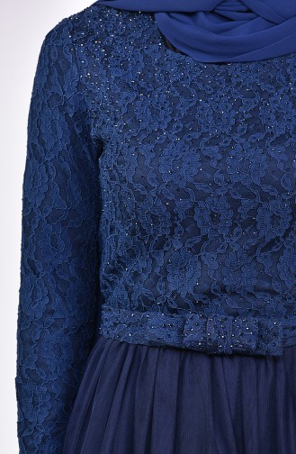 Lace Detailed Evening Dress 5093-06 Navy 5093-06