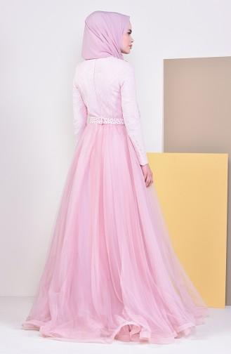 Lace Detailed Evening Dress 5093-07 Candypink 5093-07