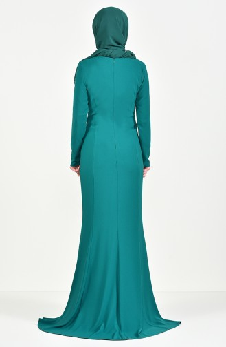 Robe de Soirée Perlée 6001-01 Vert emeraude 6001-01