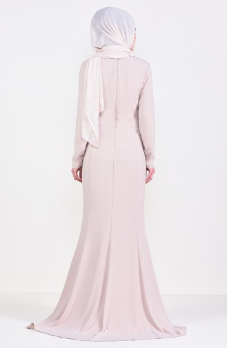 فستان سهرة بتفاصيل من احجار لامعة 6001-02 لون بيج 6001-02