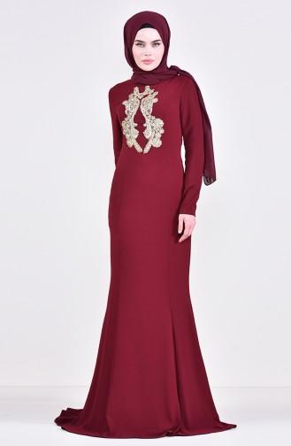 Robe de Soirée Perlée 6001-04 Bordeaux 6001-04