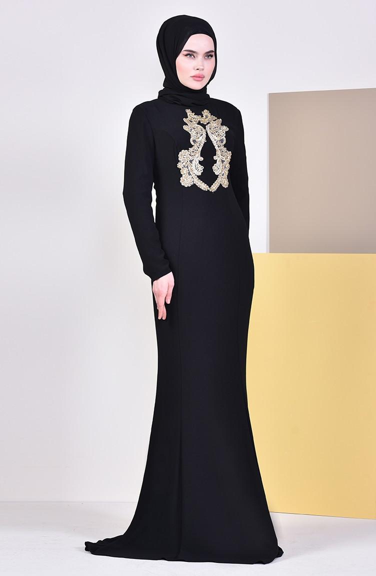 cc75b063d140c فستان سهرة بتفاصيل من احجار لامعة 6001-06 لون اسود 6001-06