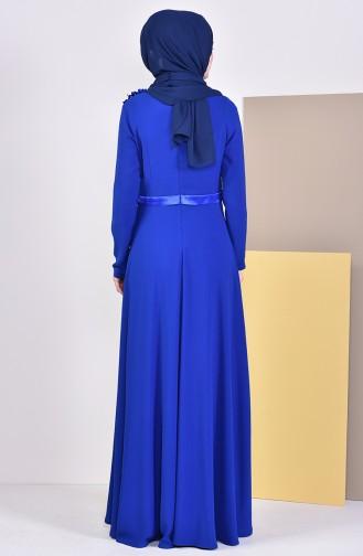 Flower Appliqued Evening Dress 6002-01 Saks 6002-01