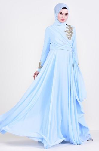 Broşlu Abiye Elbise 6005-01 Bebek Mavisi