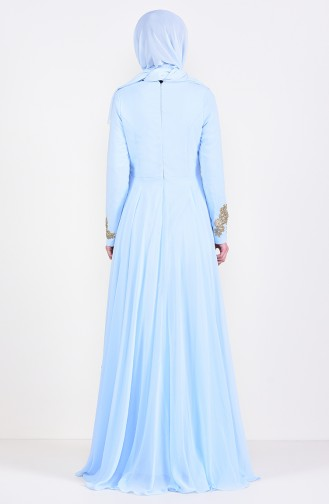 Abendkleid mit Brosche6005-01 Babyblau 6005-01