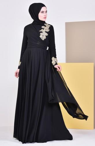 Broşlu Abiye Elbise 6005-02 Siyah