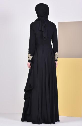 Brooch Evening Dress 6005-02 Black 6005-02