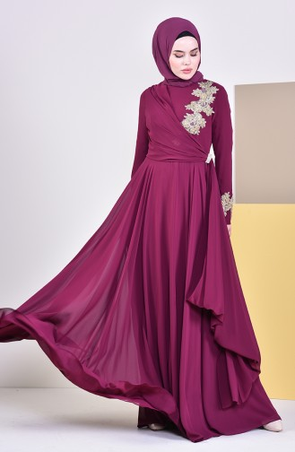 Brooch Evening Dress 6005-03 dark Plum 6005-03