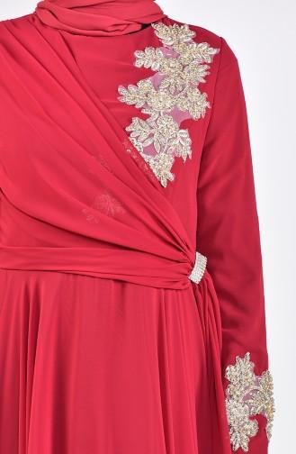 فستان سهرة مزين ببروش6005-04 لون خمري 6005-04