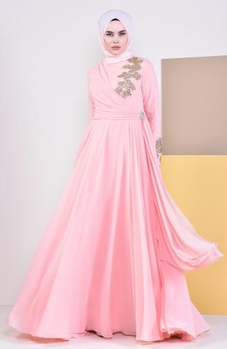 Broşlu Abiye Elbise 6005-05 Somon