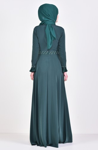 Beading Embroidered Evening Dress 6006-01 Emerald Green 6006-01