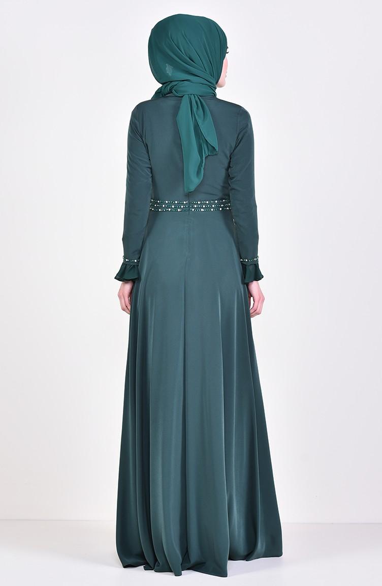 d12b52fac3abf فستان سهرة بتفاصيل مطرزة بالخرز 6006-01 لون اخضر زمردي 6006-01