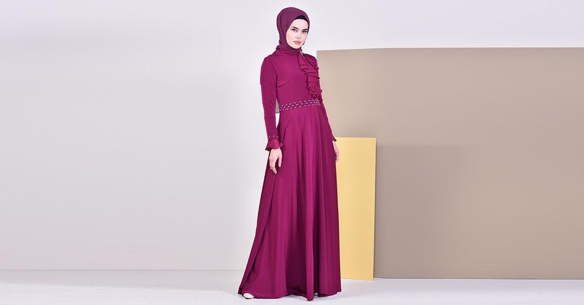8ad173cfca603 فستان سهرة بتفاصيل مطرزة بالخرز 6006-02 لون ارجواني 6006-02