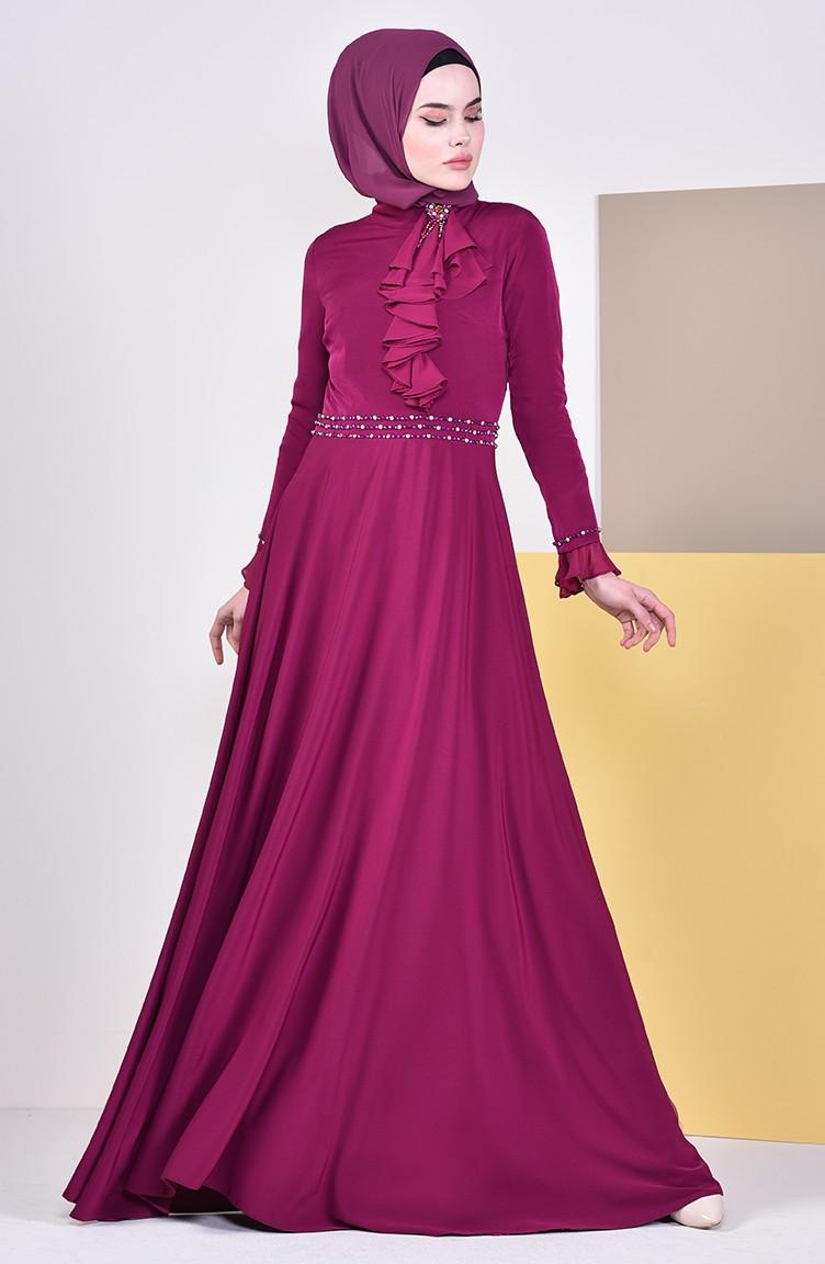 467ddebd7ede1 فستان سهرة بتفاصيل مطرزة بالخرز 6006-02 لون ارجواني 6006-02