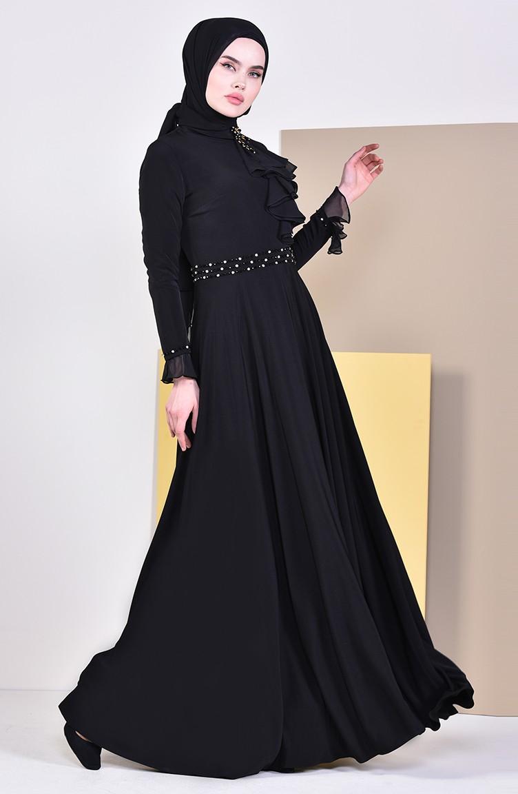 96864c76b0e41 فستان سهرة بتفاصيل مطرزة بالخرز 6006-03 لون اسود 6006-03