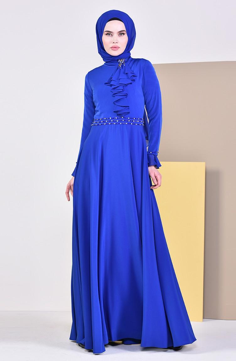 9346125ac8cd5 فستان سهرة بتفاصيل مطرزة بالخرز 6006-04 لون ازرق 6006-04