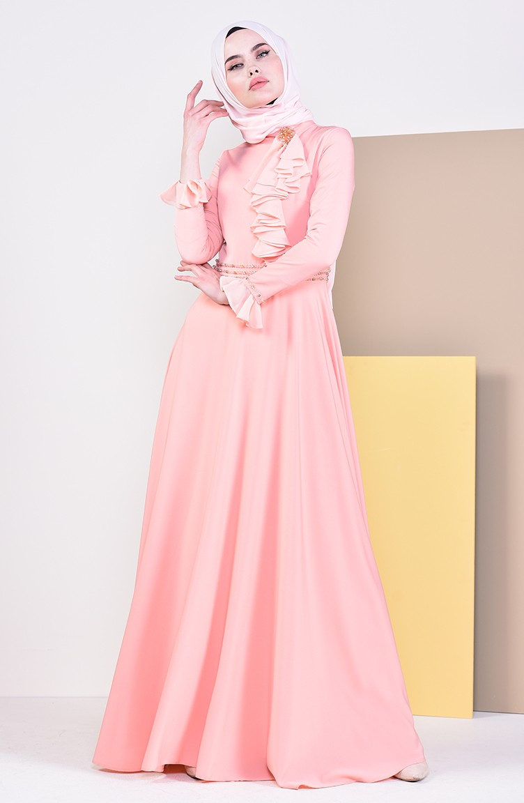 b6135f1e7f144 فستان سهرة بتفاصيل مطرزة بالخرز 6006-05 لون مشمشي 6006-05