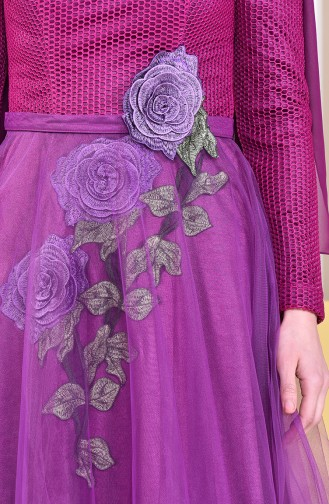 Embroidery Detailed Evening Dress 8145-02 Plum 8145-02